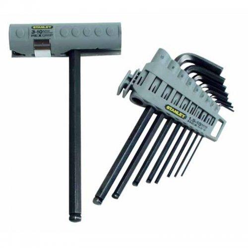 9-ti dílná sada šestihranných zástrčných klíčů Inbus s kuličkou - v nasazovací rukojeti Stanley 0-89-904