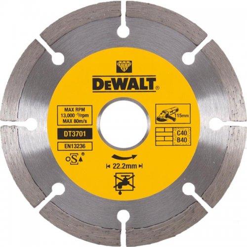Dia kotouč profi ze slinutých karbidů na suché řezání betonu a cihel 115x22,2mm DeWALT DT3701
