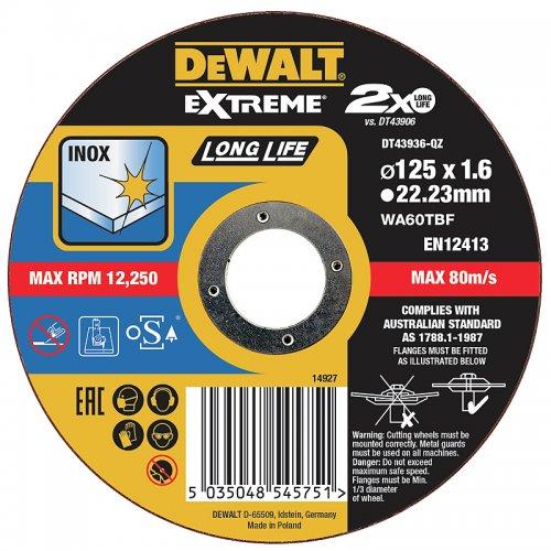 Řezný kotouč 125 x 1,6mm, typ 1 DeWALT DT43936