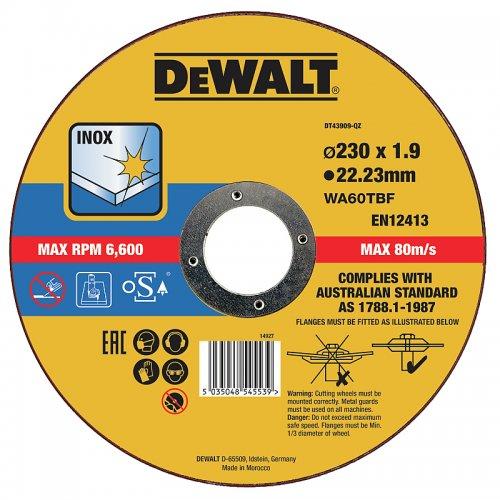 Řezný kotouč 230 x 1,9mm, typ 1 DeWALT DT43909