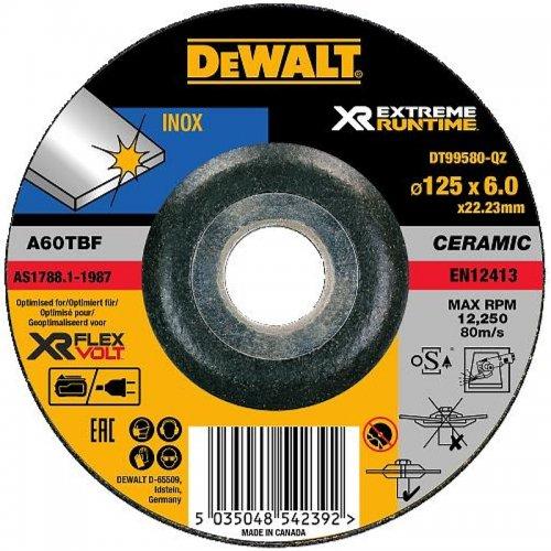 Brusný kotouč na kov vypouklý 115x22,2x6,0mm Typ 27 DeWALT FLEXVOLT DT99580