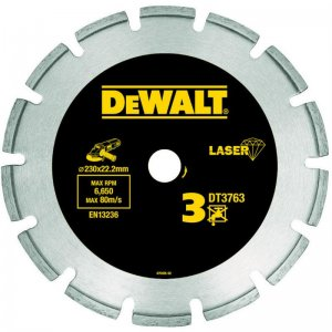 Dia kotouč Laser 3 na tvrdé materiály, žulu, vyztužený beton 230x22,2mm DeWALT DT3763