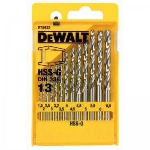13-ti dílná sada vrtáků do kovu HSS-G DIN 338 DeWALT DT5922