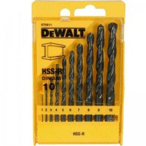 10-ti dílná sada vrtáků do kovu HSS-R DIN 338 DeWALT DT5911