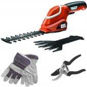 Aku nůžky na trávu a keře + nůžky a rukavice Black&Decker GSL700KIT