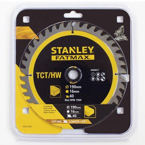 Pilový kotouč TCT/HM pro příčné řezy 190 x 16 x 1 mm, 40 zubů Stanley STA13365