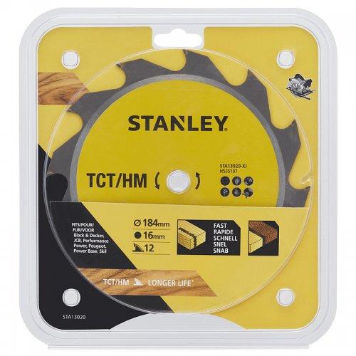 Pilový kotouč TCT/HM pro podélné řezy 184 x 16 mm, 12 zubů Stanley STA13020
