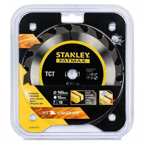 Pilový kotouč TCT/HM brousitelný pro podélné řezy 160 x 16 mm, 18 zubů Stanley STA15315