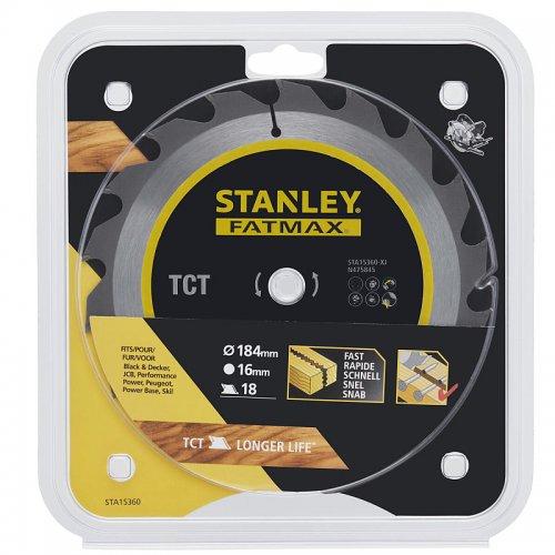 Pilový kotouč TCT/HM brousitelný pro podélné řezy 184 x 16 mm, 18 zubů Stanley STA15360
